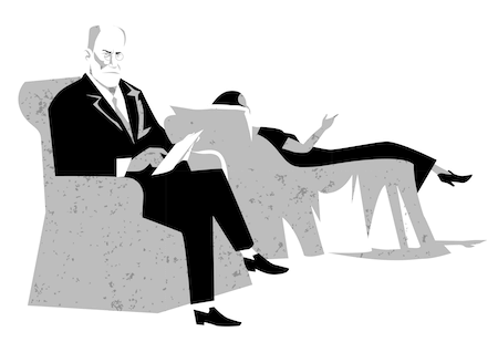 Sigmund-Freud i stol illustration