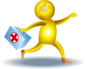 Illustration mand med førstehjælpskasse