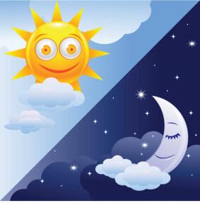 Illustration sol og måne